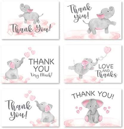 24 Pink Elephant Baby Shower Thank You Cards With Envelopes, Kids Thank You Note, Animal 4×6 Varied Gratitude Card Pack For Party, Girl Children Birthday, Cute Event Appreciation Stationery