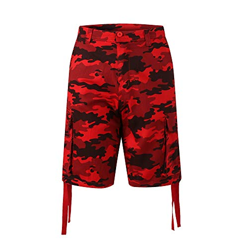Red Camo Shorts - PTSports Mens Camo Ripstop Cargo Shorts Relaxed Fit Work Shorts Red X-Large