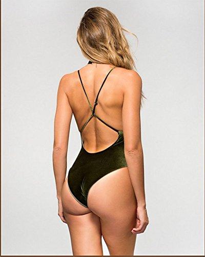 Mujeres Push Up Bañadores Deportivas Bikini Ropa de Baño Swimwear Verdinegro