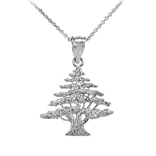 Middle Eastern Jewelry Polished 925 Sterling Silver Cedar Tree Charm Pendant Necklace, 18""