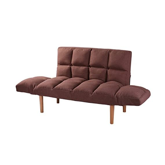 Convertible Loveseat Folding Couch Modern Small Foldable Futon Sofabed with Solid Wood Legs for Kids and Apartment,QVB Brown Color - CONVERTIBLE FUTON COUCH:Can be used as a normal sofa but also tufted sofa sleeper.Wonderful convertible loveseat. WASHABLE DESIGN:Brown futon sofa cover can be took off for washing. Tufted futon sofa can be your great sleeper place. WOODEN LEGS&EASY SET UP:Metal frame with solid beech wood legs. Easy set up,no tools needed. - sofas-couches, living-room-furniture, living-room - 41HbWZLLFBL. SS570  -
