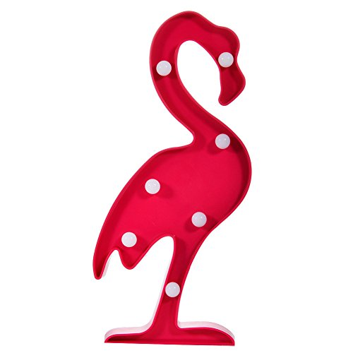 DELICORE Fiesta Tropical Plastic Flamingo Marquee Light, LED Baby Night Light, Romantic Dim Mood Lamp 2AA Battery Operated, Wall Decor -