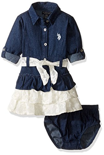U.S. Polo Assn. Girls' Woven Western Dress, Dark Wash, 18 (Western Dress Clothes)
