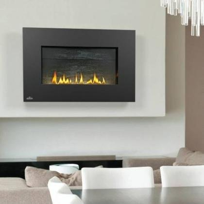 Napoleon WHVF31N Hole Free Plazmafire Wall Hanging Natural Gas Fireplace Complete With Slate Brick Panel Fuel Saving Electronic Ignition & Exclusive Topaz Crystaline Ember