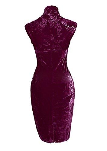 Women's Mode CA Floral Red Dress Evening Formal Wedding Bridesmaid Violet gqBnBPF