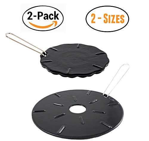 "Cast Iron Heat Diffuser Plate - Flame Reducer – 2 Pack – 2 Sizes Included – 8.25"" and 6.75"" Heat Diffuser Plates - Flame Guard - Simmer Ring - Heat Tamer Cast Iron Gas Stove"