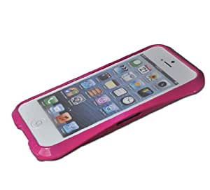 Plated Colour Ceramic Glaze Metal Bumper Case Cover for iPhone 5 5S (Hot Pink-01)