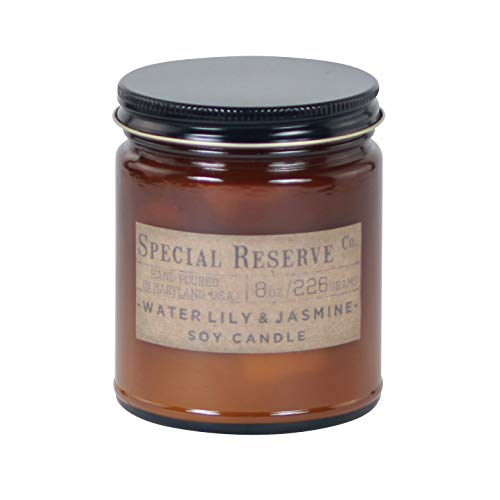 Special Reserve Candles Waterlily & Jasmine Scented Soy Wax Candle - Classic Amber Jar with Lid - 8 oz.