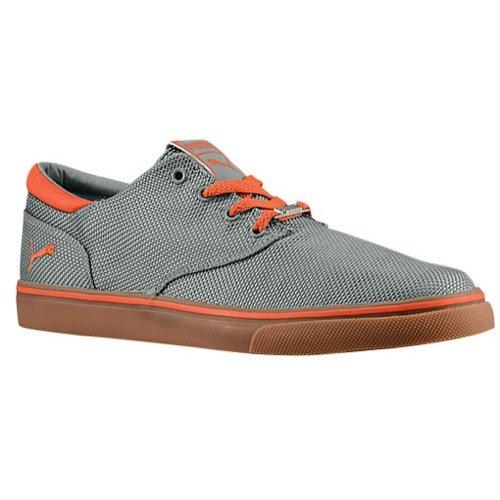 Puma Men's El Seevo Canvas Shoes (10.5, Limestone Gray/Tiger Orange)