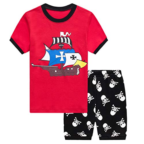 Csbks Kids Cotton Short Sets Boys Pajama Summer Novelty Clothes Outfits Pirate Ship 130 -