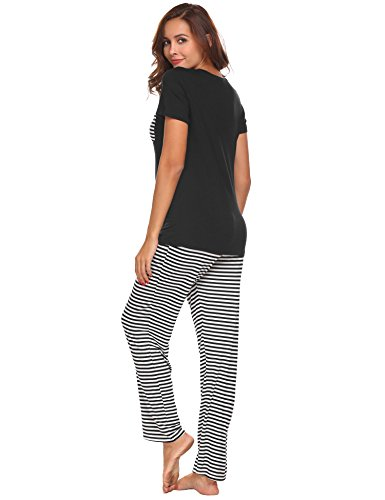 b784e283ef3 Hotouch Womens Pajama Set Striped Short Sleeve Top   Pants Sleepwear Pjs  Sets