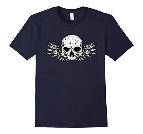 Mens Winged Skull Rock T - Shirt. Large Navy (Winged Graphic)