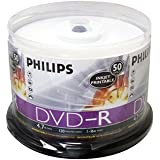 PHILIPS DM4I6B50F/17 4.7 GB INKJET-PRINTABLE DVD-R (50-CT SPINDLE)