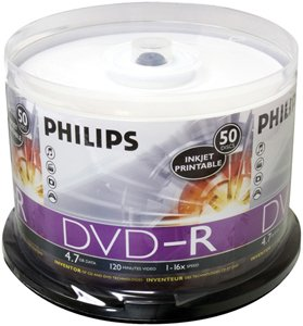 picture about Ink Jet Printable Dvd identified as PHILIPS DM4I6B50F/17 4.7 GB INKJET-PRINTABLE DVD-R (50-CT SPINDLE)