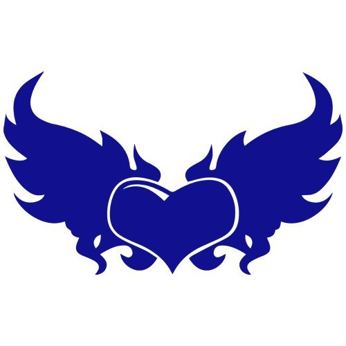 (Set of 3 - Winged Heart Decal Sticker Color: Blue, Peel and Stick Vinyl Sticker )