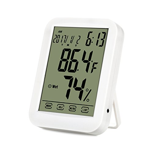Indoor Digital Hygrometer Thermometer, Thermometer Humidity Gauge Meter, Touchscreen and Backlight Temperature Humidity Monitor for Home Office Bedroom Warehouse Basement(White) by Telead