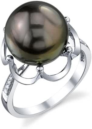 11mm Tahitian South Sea Cultured Pearl & Diamond Virginia Ring in 14K Gold