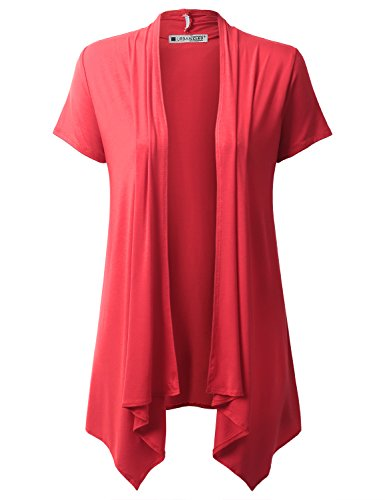 URBANCLEO Womens Lightweight Draped Opent Front Cardigan (PLUS Size Available)