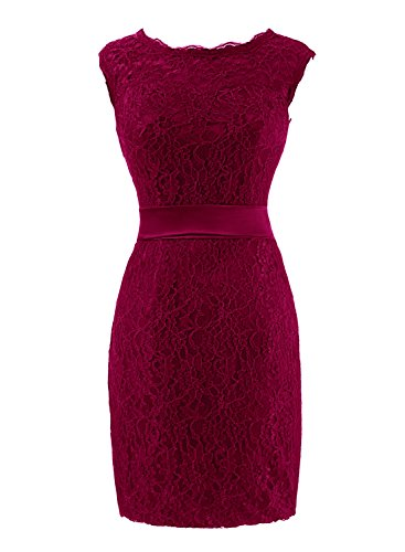 Lace Backless Burgundy The Mother Women's Bride of Prom Length Bess Bridal Knee Dress q7txSOEO
