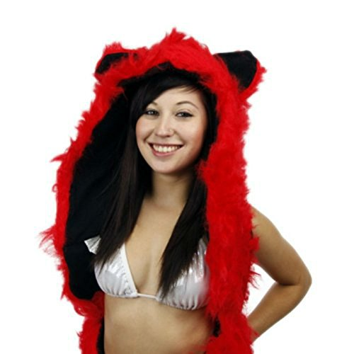 [Red Fox Anime Faux Animal Hood Hoods Mittens Gloves Scarf Spirit Paws Ears] (Fox Hat Costume)