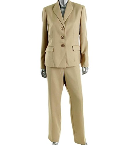 Le Suit Womens Country Club Herringbone 2PC Pant Suit Taupe 6 (Blazer Country Club)