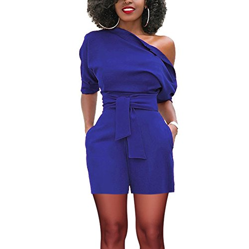 Plus Size Rompers Short Ruffle Off Shoulder Jumpsuits by SELUXU