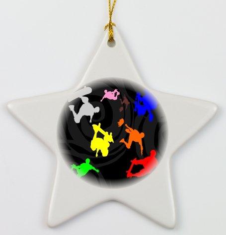 Rikki KnightTM Colored skateboarding on black Psychedelic Porcelain Star Ornament