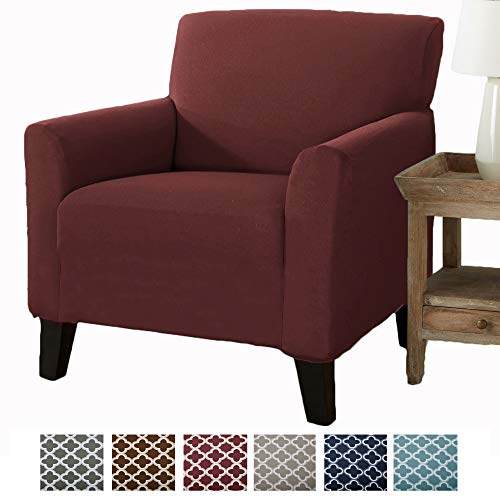 Home Fashion Designs Form Fit, Slip Resistant, Stylish Furniture Cover/Protector Featuring Lightweight Stretch Twill Fabric. Brenna Collection Strapless Slipcover (Chair, Burgundy - Solid) (Slipcover Burgundy)