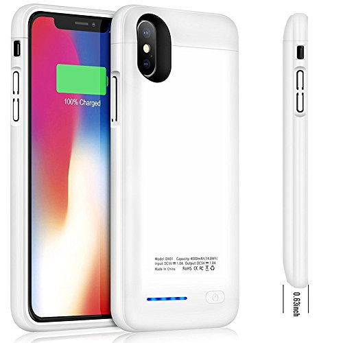 iPhone X Battery Case, Cofuture 4000mAn Magnetic Rechargeable Extended Charging Case Support Lightning Headphone Charger Pack Power Bank for iPhone X Build-in Magnet, White