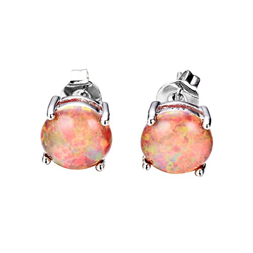 JunXin Three Color 925 Sterling Silver Round Cut Opal Stud Earring 7.5MM - Silver Orange
