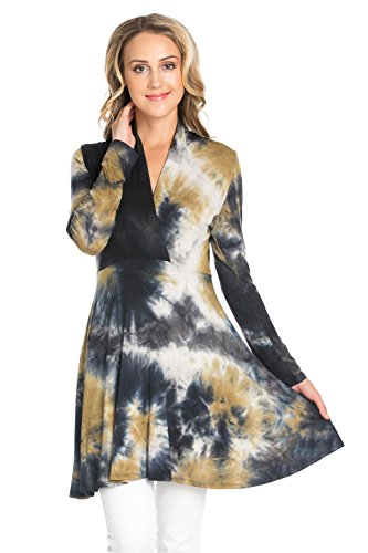 Frumos Womens Cross V Neck Long Sleeve Tie Dye Tunic Top Black Gold Medium