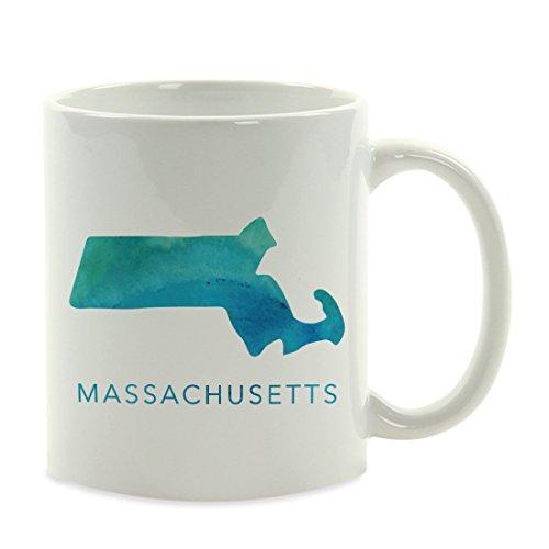 Andaz Press 11oz. US State Coffee Mug Gift, Aqua Blue Watercolor, Massachusetts, 1-Pack