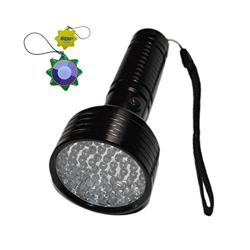 HQRP 68 LEDs 395nm Ultraviolet Blacklight Flashlight for Hotel Room Inspection/Urine Detection/Human bodily fluid tracing + HQRP UV Meter (Bodily Fluid)