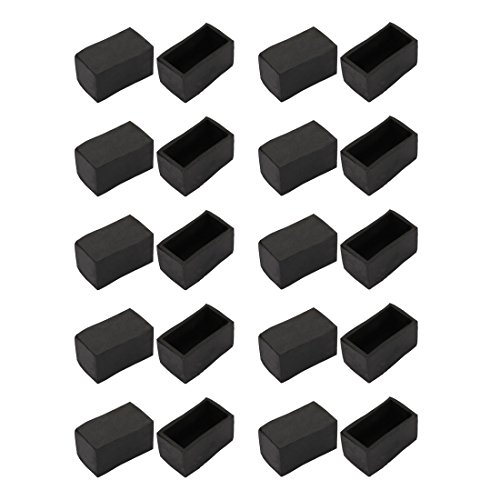 uxcell 20pcs Furniture Desk Chair Accessory 20mmx40mm Square Rubber Leg Tip Cap Black by uxcell