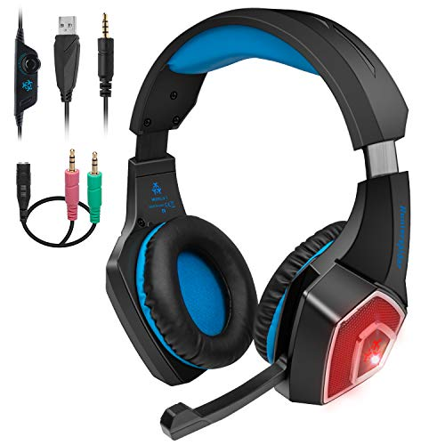Wired Stereo Gaming Headset with mic for PS4 Xbox One Headset with Noise Reduction Microphone & LED Light, Over-Ear Gaming Headphones with Soft Memory Earmuffs for PC, Mac, Laptop, Nintendo Switch