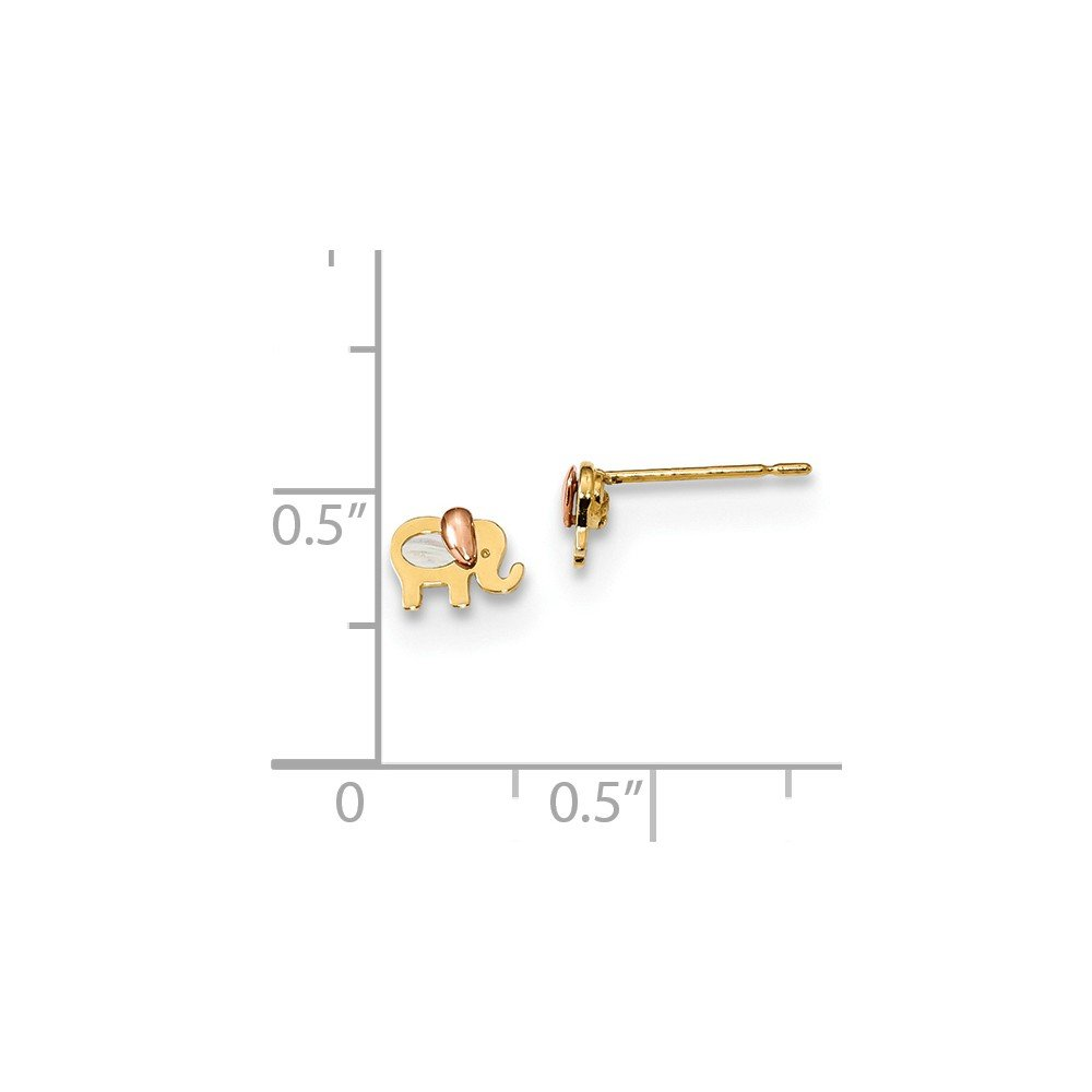 14K Rose And Yellow Gold Madi K Childrens 6 MM MOP Elephant Post Stud Earrings