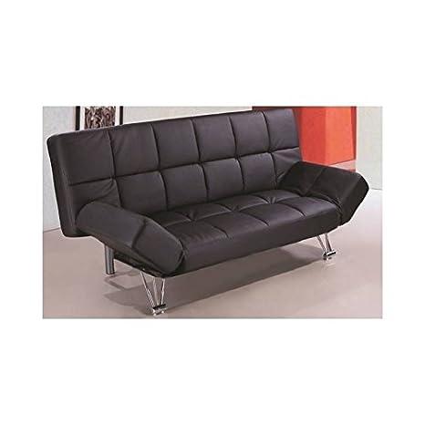 Sofá cama tipo clikclak tapizado en polipiel negra de 188x85 ...