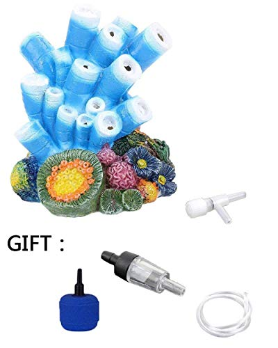 Aquarium Decor Air Bubble Stone Blue Coral Starfish Oxygen Pump Resin Crafts for Aquarium Fish Tank Ornament Decoration
