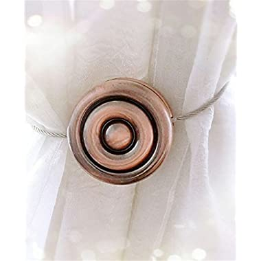 Alberta Chic One Pair Curtain Clips Curtain Attraction Appliance Buckle Magnetic Tieback Creative Diamond Curtain Bind Europe Type (Moon:Red Bronze)