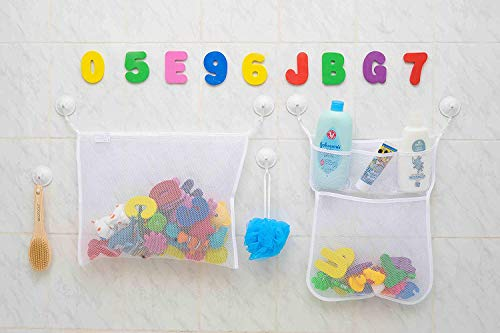 Kids Organizer Net Bag for Baby Bath Toys 2 x Mesh Baby Bath Toys Storage+6 Ultra Strong Hooks+36 Bath Foam Letters and Numbers Shampoo /& Soap Baby Foam Baby Bathtub Letters Number for Toddlers