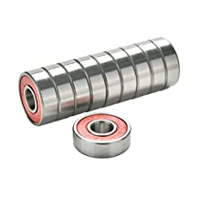 Moonguiding 10 pcs Red ABEC 9 High Performance Skate Scooter Skateboard Wheel Bearings