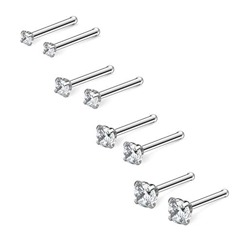 - Cisyozi 4 Pairs 18G Stainless Steel Nose Rings Stud Set 1.5mm 2mm 2.5mm 3mm 4-Prong-Setting Clear Diamond CZ Bone Pin Nostril Piercing Jewelry