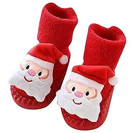 LuckyBB Christmas Newborn Baby Step Socks, Xmas Boys Girls Floor Socks Anti-Slip Indoor Slipper Socks Crib Shoes (0M-24M)