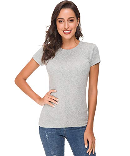 Acacia Flowers Women's Knitting Casual Short Sleeve Tight Top Crew Neck Tee Grey