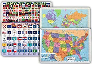 World Map, USA Map, Flags of World, Flags of US States Placemat for Kids - Set of 4 Laminated Children