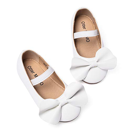 (Otter MOMO Toddler/Little Girls Mary Jane Ballerina Flats Shoes Slip-on School Party Dress Shoes (6M-5 5/8 inches-14.3cm, D704-White))