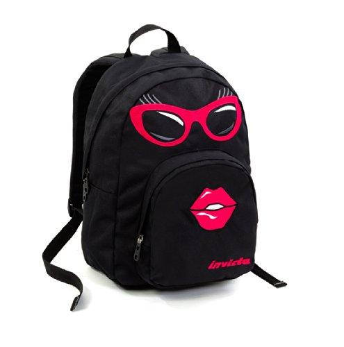 20460c3e5a ZAINO INVICTA - OLLIE FACE II - faccina kiss occhiali Black americano  scuola porta pc padded 20 LT: Amazon.it: Valigeria