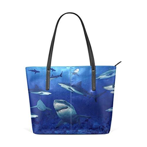 COOSUN Los tiburones de la PU de cuero bolso monedero y bolsos de la bolsa de asas para las mujeres Medio muticolour