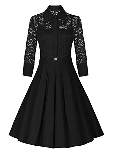 Killreal-Womens-34-Sleeve-A-line-Floral-Lace-Cocktail-Bridesmaid-Pleated-Dress