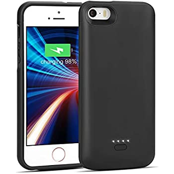 iPhone 5/5S/SE Battery Case, Wavypo 4000mAh Charging Case Ultra Slim Extended Rechargeable Charger Case External Battery Pack Portable Power ...